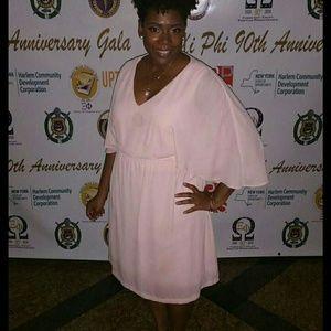 Bisou Bisou blush pink cape dress